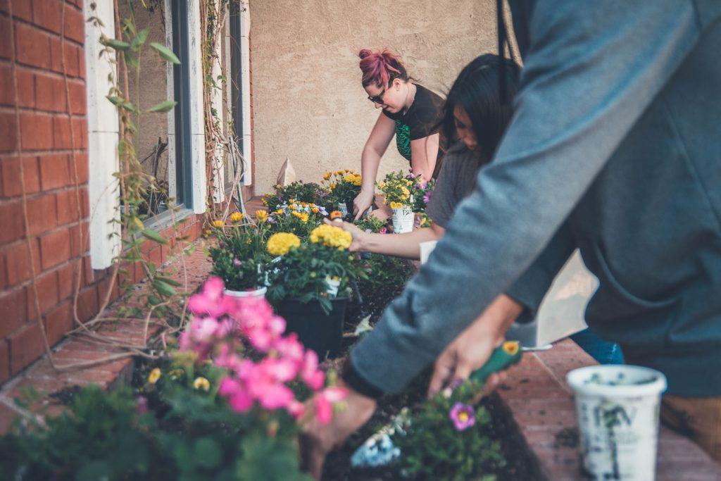 family doing gardening