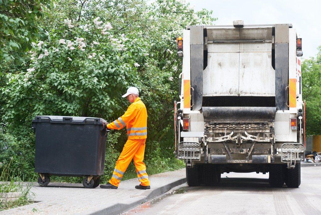 Man collecting garbage