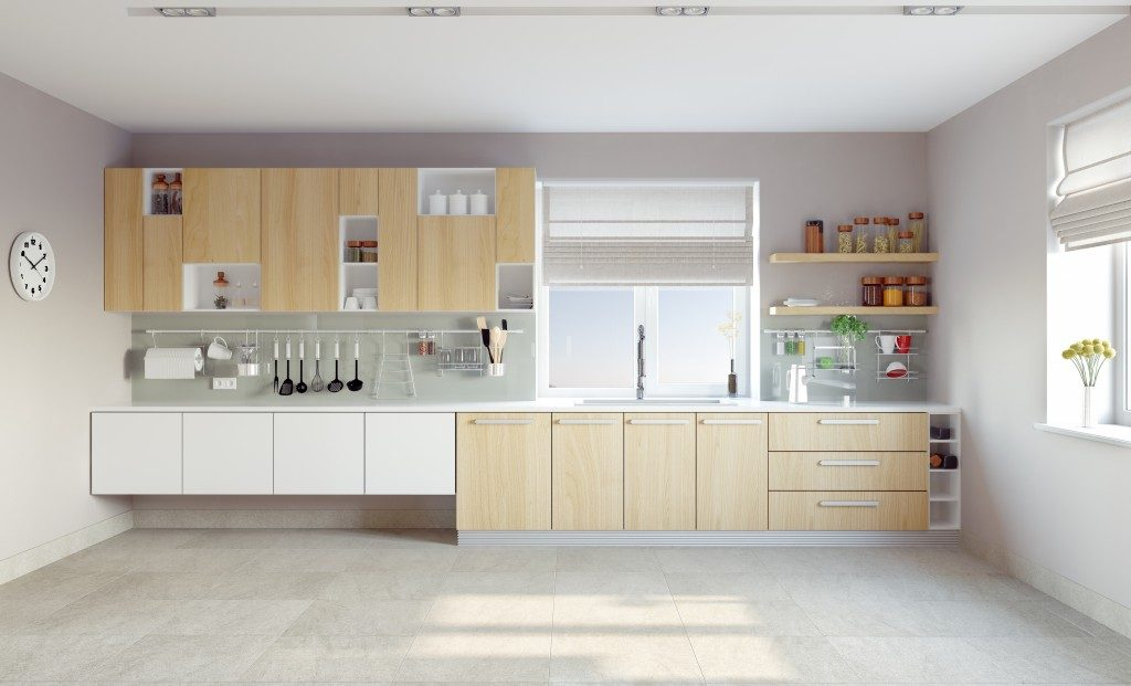 Minimalist kitchen tile flooring