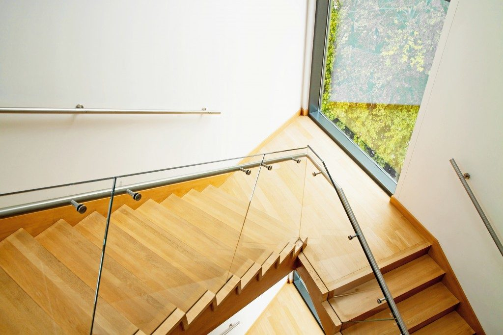 Stylish wooden staircase