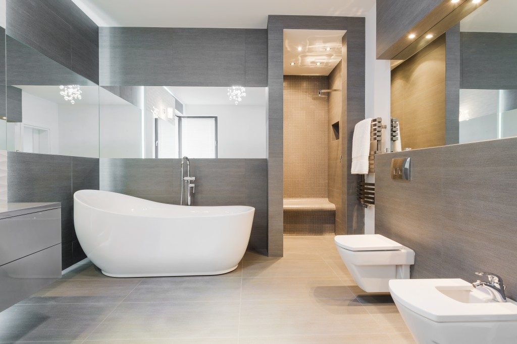 modern bathroom with jet tub