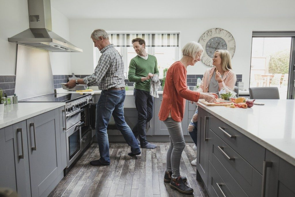 family in a kitchen
