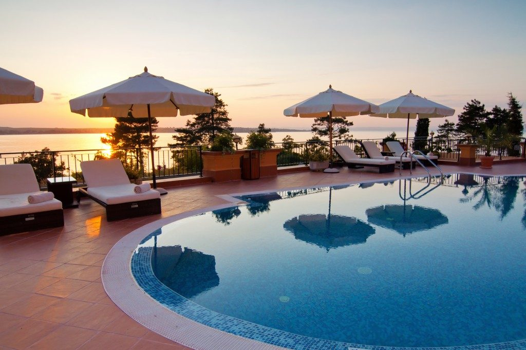 Pool with a view of sunrise