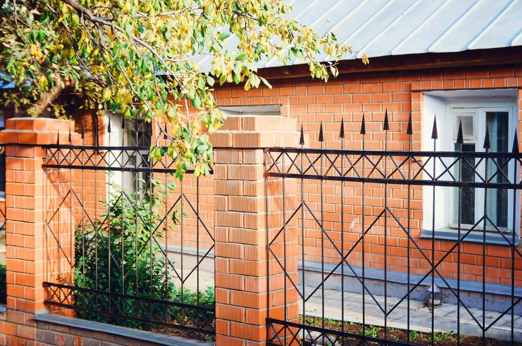 designed perimeter fence of a house
