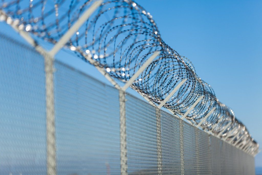 metal perimeter fence for safety and security
