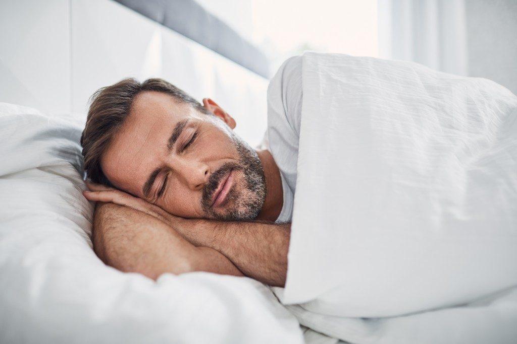 man deep in sleep