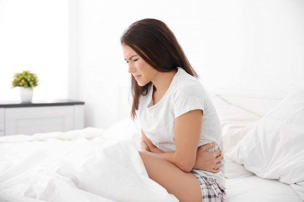 woman having gut pain