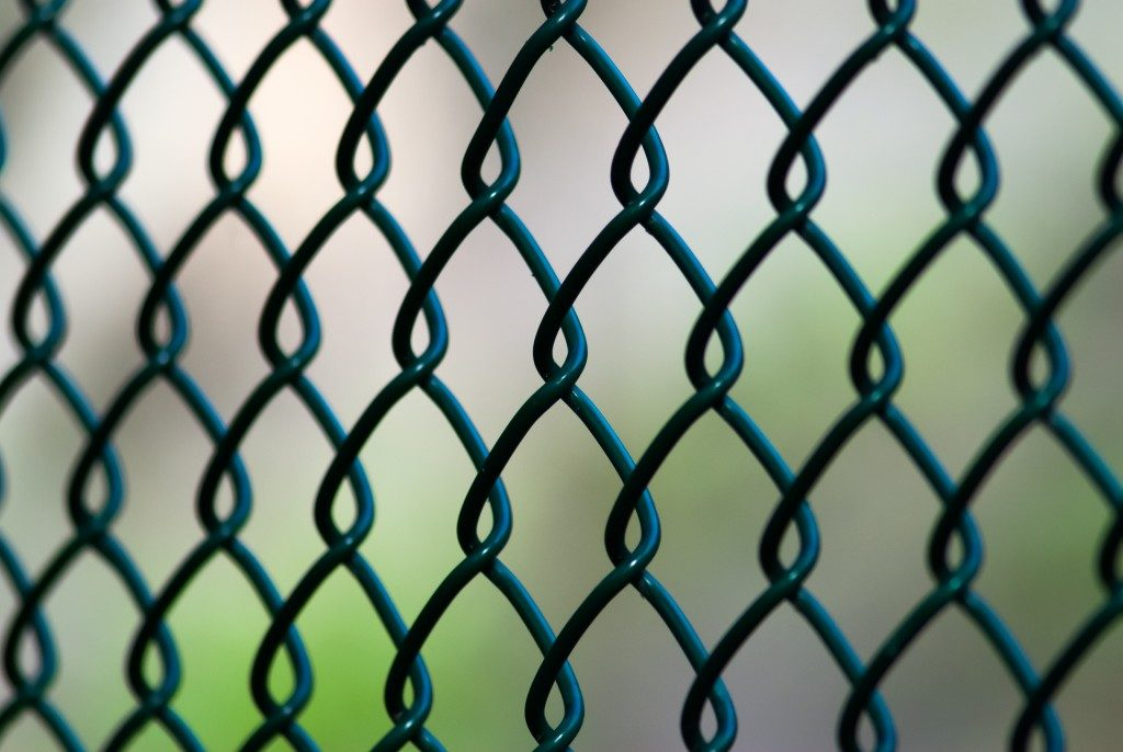 A close up of a green chain link fence