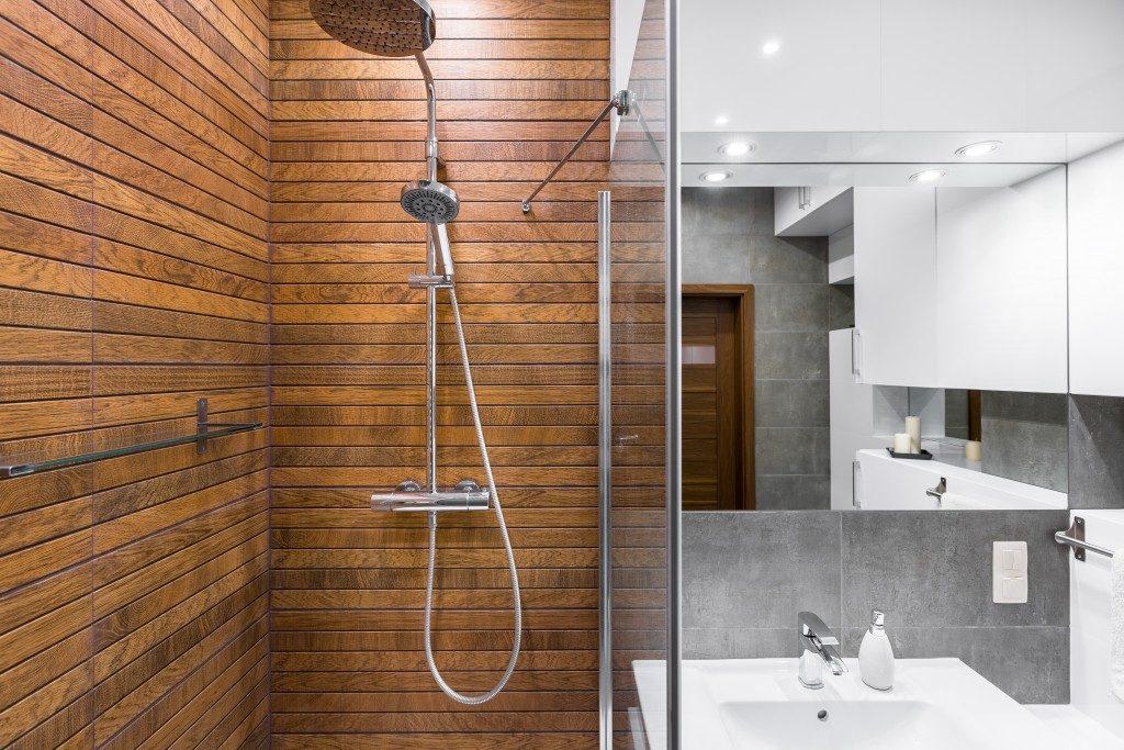 modern designed bathroom in bright lights