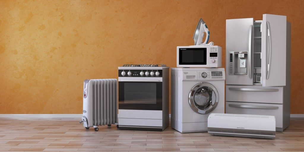 electronic home appliances, aircon, stove, washing machine, iron, microwave and fridge
