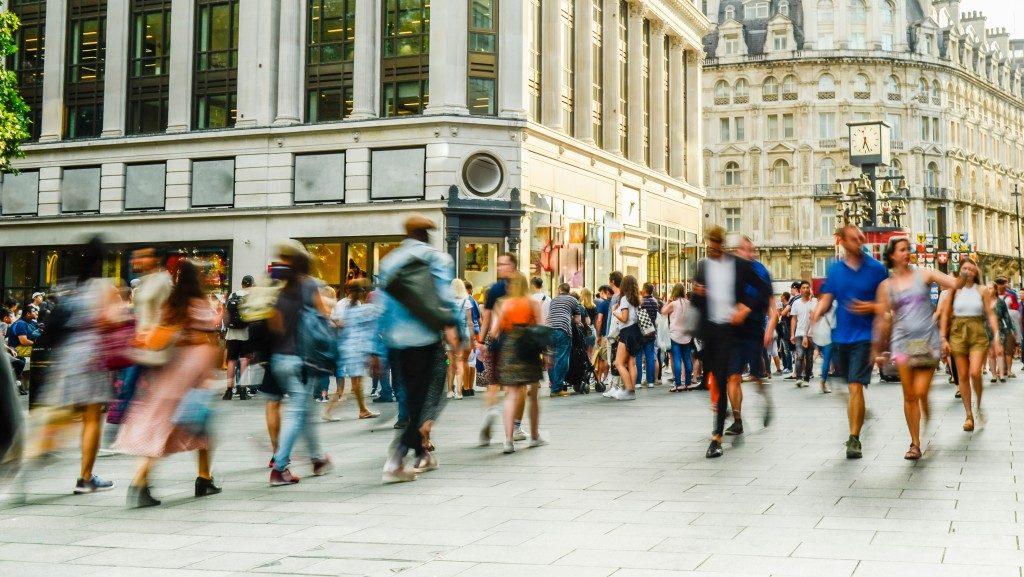 people walking around London