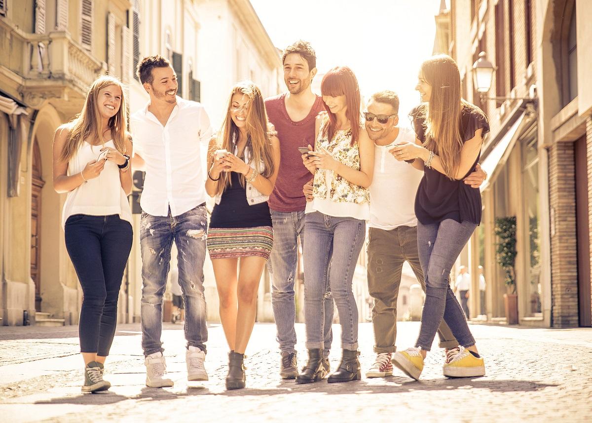 group of friends walking